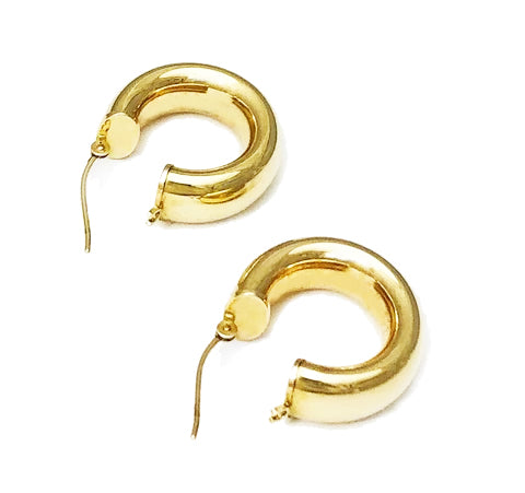 Gold Tube Hoops at Rubini Jewelers