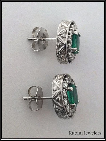 Emerald and Diamond Earring Created to Match Existing Earring