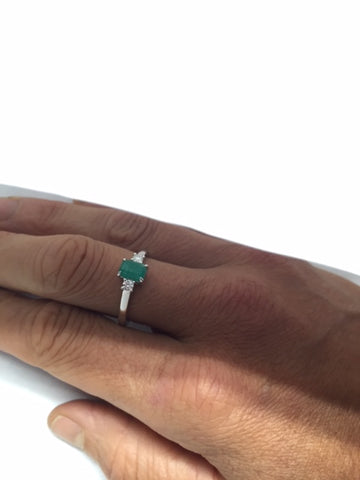 Diamond and Emerald White Gold Ring by Rubini Jewelers