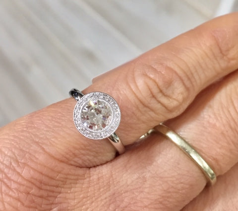 Modern Halo Diamond Engagement Ring Reusing Family Diamond by Rubini Jewelers