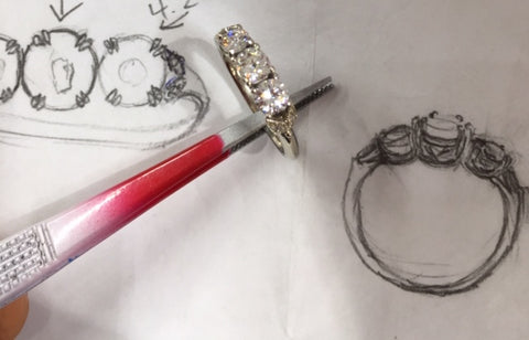 Custom Three Family Diamonds Engagement Ring with Leaves by Rubini Jewelers