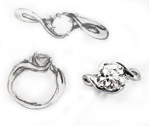 Infinity Inspired Platinum Diamonds Engagement Ring by Rubini Jewelers