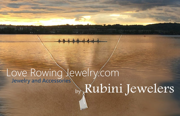 Rowing scene with Rubini Jewelers Rowing Necklace, jump off page to Rubini Jewelers Rowing Jewelry, Accessories and more