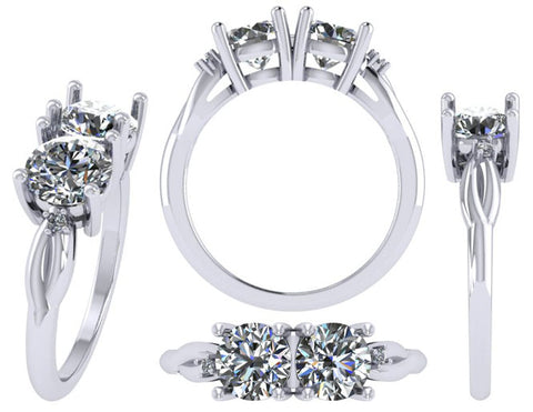 Platinum Two Stone Diamond Engagement Ring by Rubini Jewelers