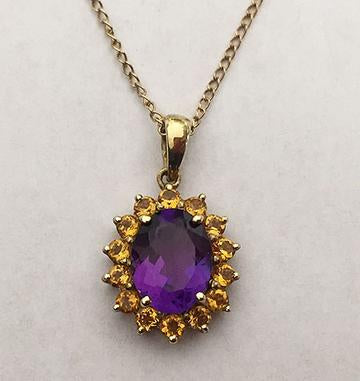 14kt Yellow Gold Amethyst and Citrine Pendant at Rubini Jewelers