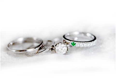 Platinum with Family Diamond Engagement Ring, Diamond emerald his and her wedding bands, by Rubini Jeweler