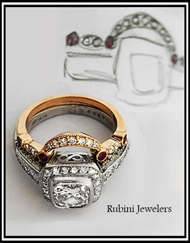 Rose Gold Diamond and Ruby Contour Ring, made to nest with Platinum Diamond Engagement Ring, by Rubini Jewelers
