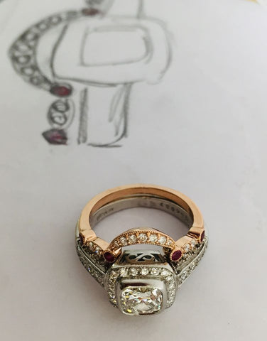Custom Rose Gold Diamond and Ruby Ring paired with existing platinum diamond wedding set