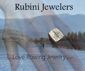 Rubini Jewelers Love Rowing Jewelry page, featuring Lauren Rubini rowing, and sterling silver eight rowing boat ring