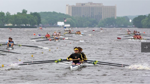 Teams line up on the Copper River during time trails at the Stotesbury Cup high school rowing competition, which was hastily relocated because of dangerous conditions on the Schuylkill River.(Emma Lee/WHYY)