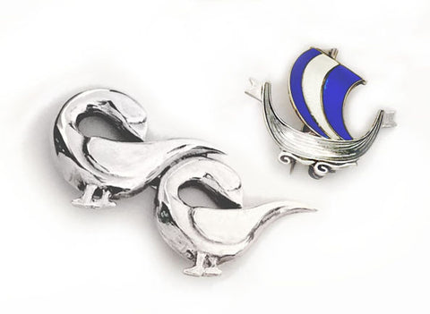 Silver Geese Brooch and Silver Enamel Norway Sailing Ship Pin