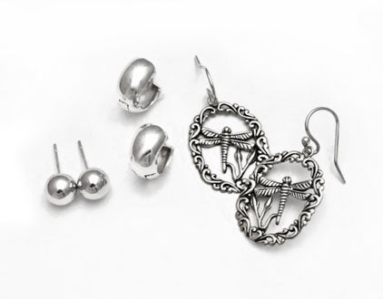 Sterling silver earrings ball studs, huggies and dragon fly earrings at Rubini Jewelers