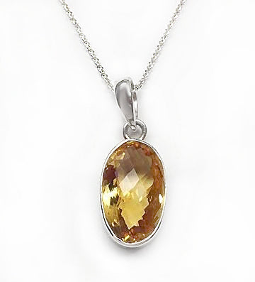 Sterling Silver Oval Citrine Pendant at Rubini Jewelers