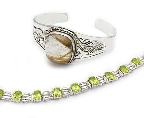 Sterling Silver Rutilated Quartz Cuff Bracelet and Sterling Silver Peridot Link Bracelet at Rubini Jewelers