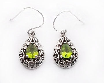 Sterling Silver Peridot Earrings with Flower Design Dangle Earrings at Rubini Jewelers