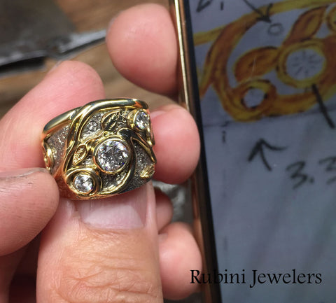 Swirls and Leaves White and Yellow Gold Diamond Engagement Ring, pictured next to customer's drawing of it, by Rubini Jewelers