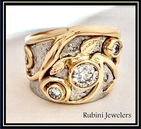 Swirl and Leaves Diamond Engagement Ring by Rubini Jewelers, final product