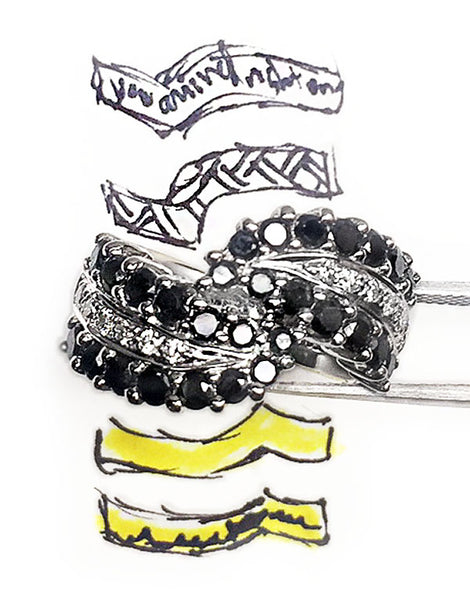 Black and White Diamonds 18kt Gold Wave Ring with matching bands sketch by Rubini Jewelers
