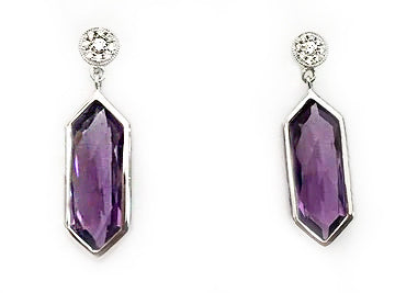 White Gold Diamond Pave and Deco Cut Amethyst Dangle Earrings at Rubini Jewelers