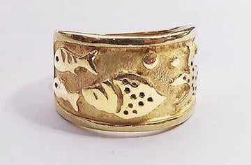 Wide 14kt Yellow Gold Ring with Fish Design at Rubini Jewelers