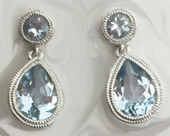 50's Inspired Aquamarine Earrings in 14kt White Gold