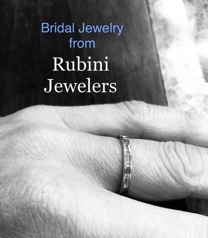 Straight baguette Diamonds Wedding Band by Rubini Jewelers