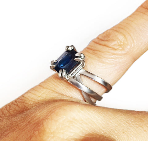 Sideview of Layered Platinum Bands and Sapphire Ring by Rubini Jewelers