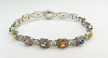 White Gold Diamond and multi Colored Sapphire Bracelet at Rubini Jewelers