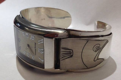 Sterling silver fish engraved watch bad