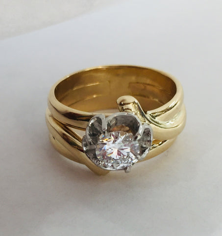 Original Vintage Collage Engagement Ring with Replacement Diamond