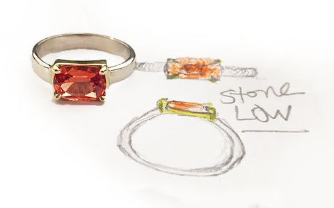 Custom Lab Created Orange Sapphire and 14kt Yellow and White Gold Ring, by Rubini Jewelers