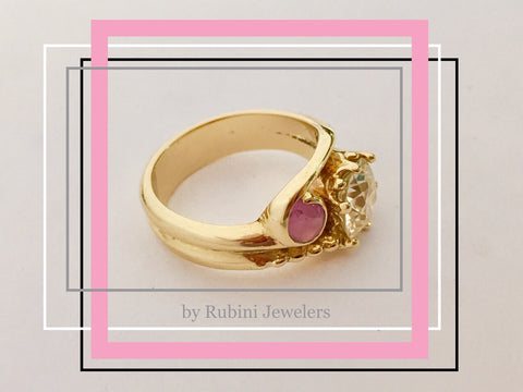 Star Ruby and European Cut Diamond Yellow Gold Engagement Ring by Rubini Jewelers
