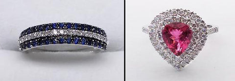 Sapphire Diamond Band and Pink Tourmaline Diamond Halo Ring at Rubini Jewelers