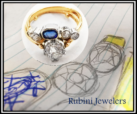 14kt gold bezel diamonds and sapphire contour band by Rubini Jewelers, using family stones