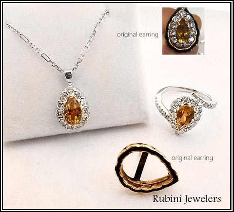 Topaz and Diamond pendant and ring created reusing customer's earrings
