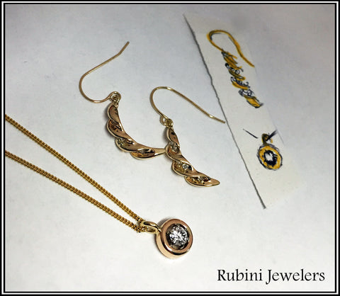 Custom Earrings and Necklace made from Customer's Wedding Rings Set, by Rubini Jewelers