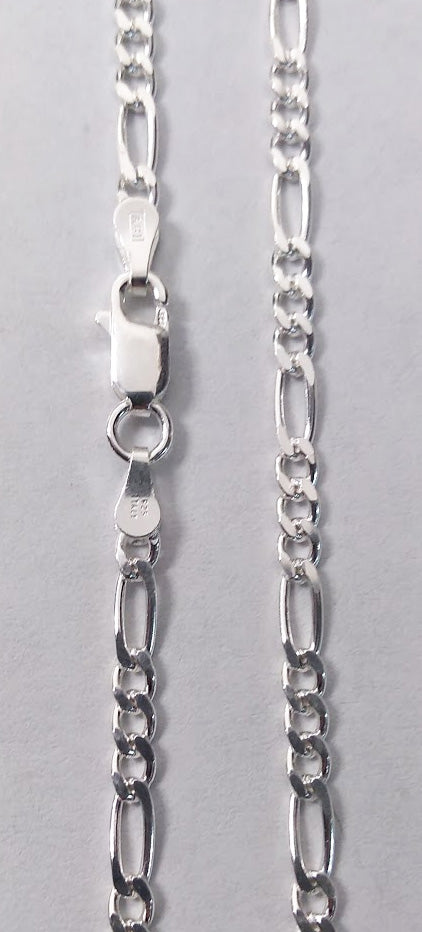 Sterling Silver 3mm Figaro Chain