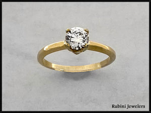 14Kt Gold .70ct Natural Diamond Solitaire Engagement Ring at Rubini Jewelers