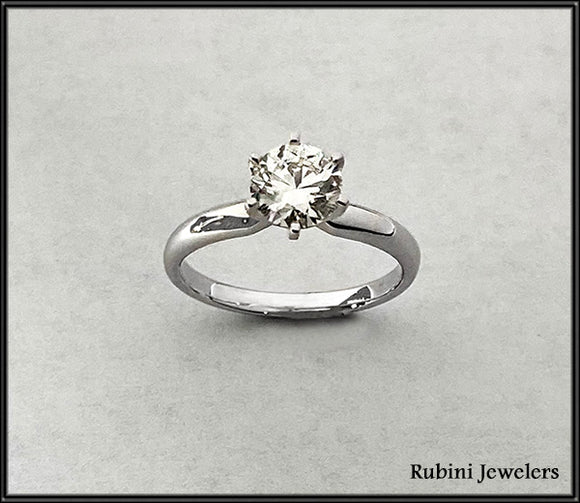 14Kt White Gold Solitaire 1.25ct Diamond Engagement Ring at Rubini Jewelers