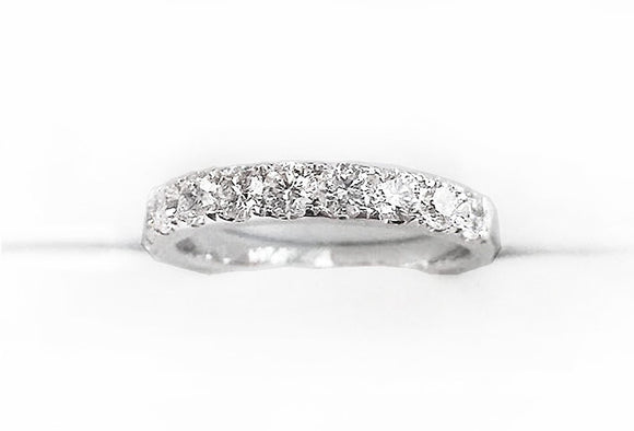 14K White Gold Half Eternity Diamond Engagement Band, by Rubini Jewelers