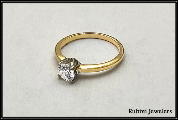 14k2tone  4 Prong Tiffany Solitaire Diamond Engagement Ring  at Rubini Jewelers