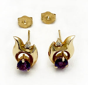 14Kt Gold Amethyst and Diamond Abstract Earrings at Rubini Jewelers