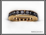 14Kt Gold Black Diamond Eternity Band by Rubini Jewelers