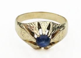 14Kt Gold Hand Engraved Ring with Cabochon Sapphire at Rubini Jewelers