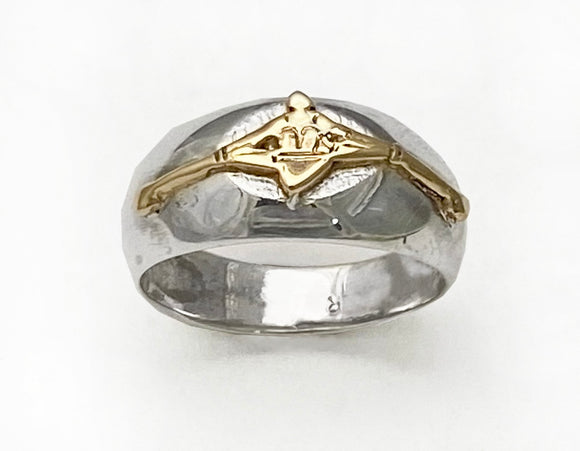 14Kt Gold Single Sculler on Domed Silver Ring by Rubini Jewelers