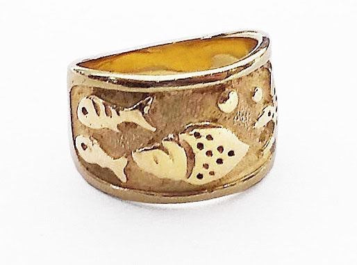 14Kt Yellow Gold Wide Fish Ring at Rubini Jewelers