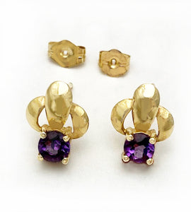 14Kt Gold and Amethyst Triad Design Post Earrings at Rubini Jewelers