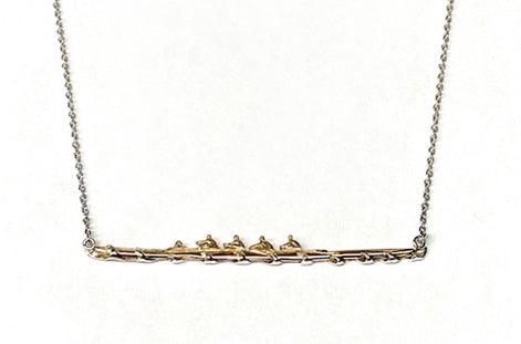 One of a Kind Gold and Silver Four with Coxswain Rowing Boat Necklace by Rubini Jewelers