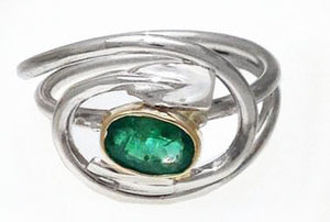 "14Kt Yellow Gold, Sterling Silver & Emerald Rowing ""LOVE"" Ring by Rubini Jewelers"