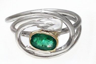 14Kt Yellow Gold, Sterling Silver & Emerald Rowing